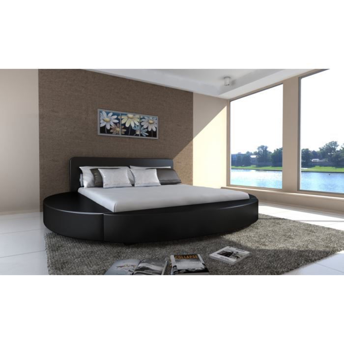 lit rond en pu noir 180 x 200 cm achat vente ensemble literie cdiscount. Black Bedroom Furniture Sets. Home Design Ideas