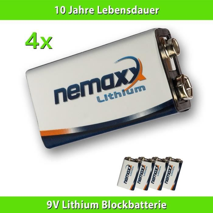 4x nemaxx batterie au lithium de 9v avec 10 ann es dur e de vie pour les d tecteurs de fum e. Black Bedroom Furniture Sets. Home Design Ideas