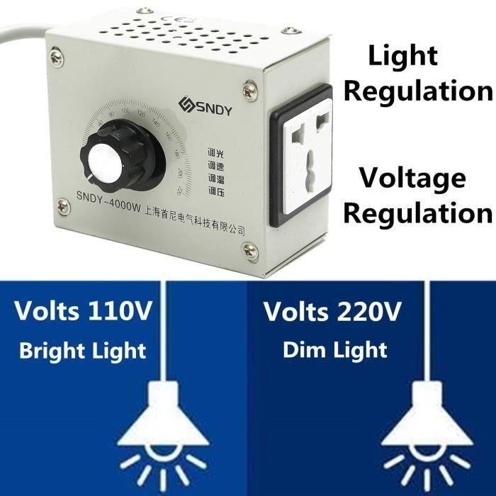 Temperatur Control 110-220V//4000W Vitesse SCR Régulateur de tension gradateur