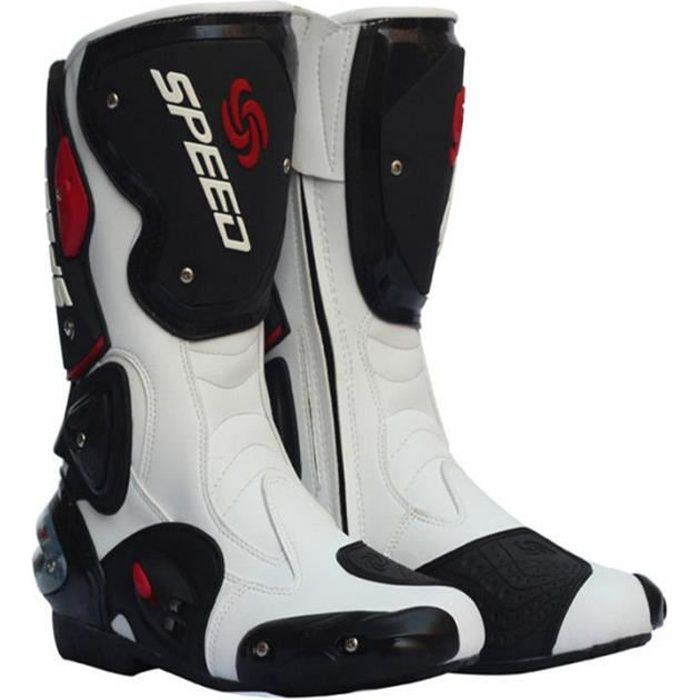 CHAUSSURE - BOTTE Bottes Moto SPEED BIKERS Noires-Blanches-Rouges
