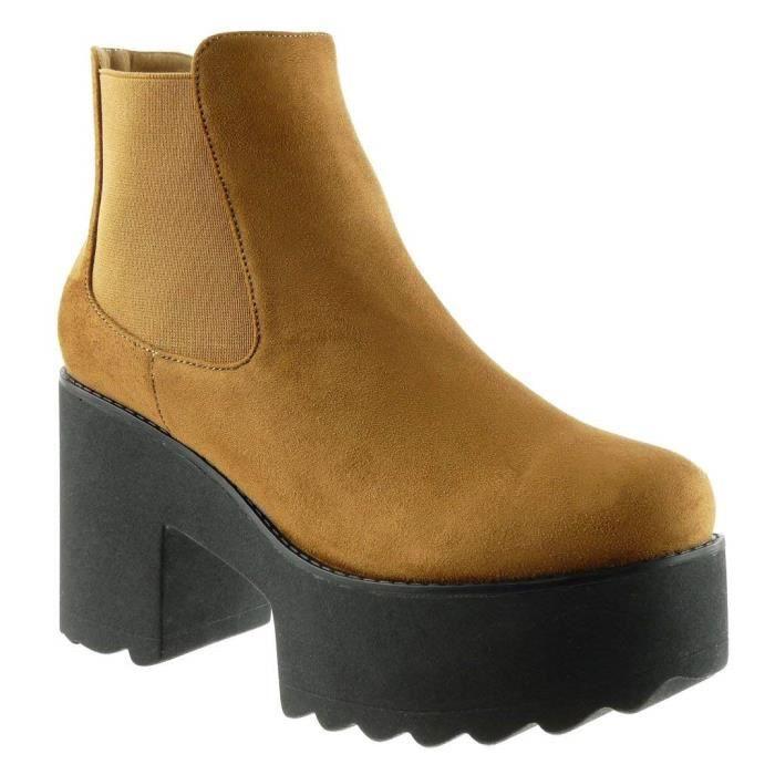 boots femme bloc Botte chelsea plateforme Talon CM haut Bottine 9 Mode motard erdCEBQxoW
