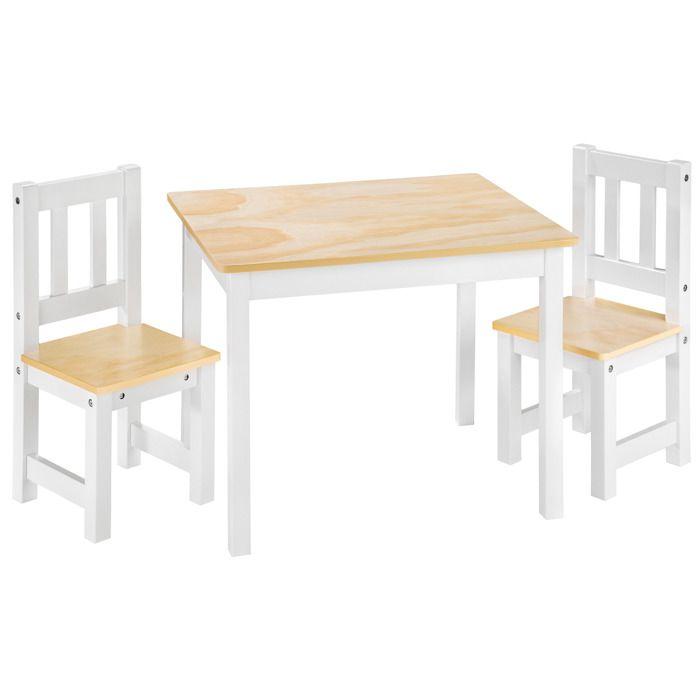 TABLE JOUET D'ACTIVITÉ TECTAKE 1 Table et 2 Chaises Enfant en Bois 60 cm