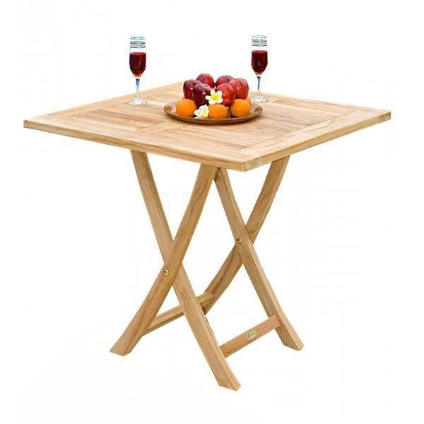 Table pliante en teck 70x70 cm carr achat vente table for Table de jardin carre
