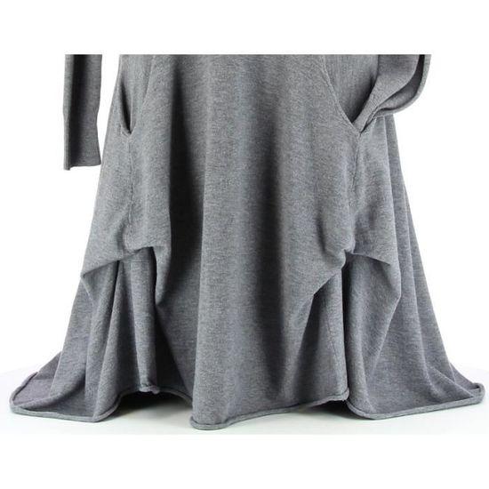 Robe pull longue hiver asymétrique CARMEN