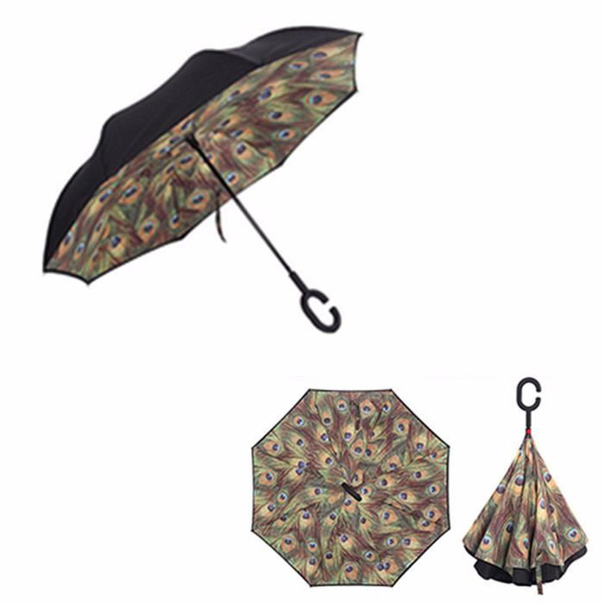 parapluie imprim invers double parasol anti uv vent soleil pliant auto achat vente. Black Bedroom Furniture Sets. Home Design Ideas