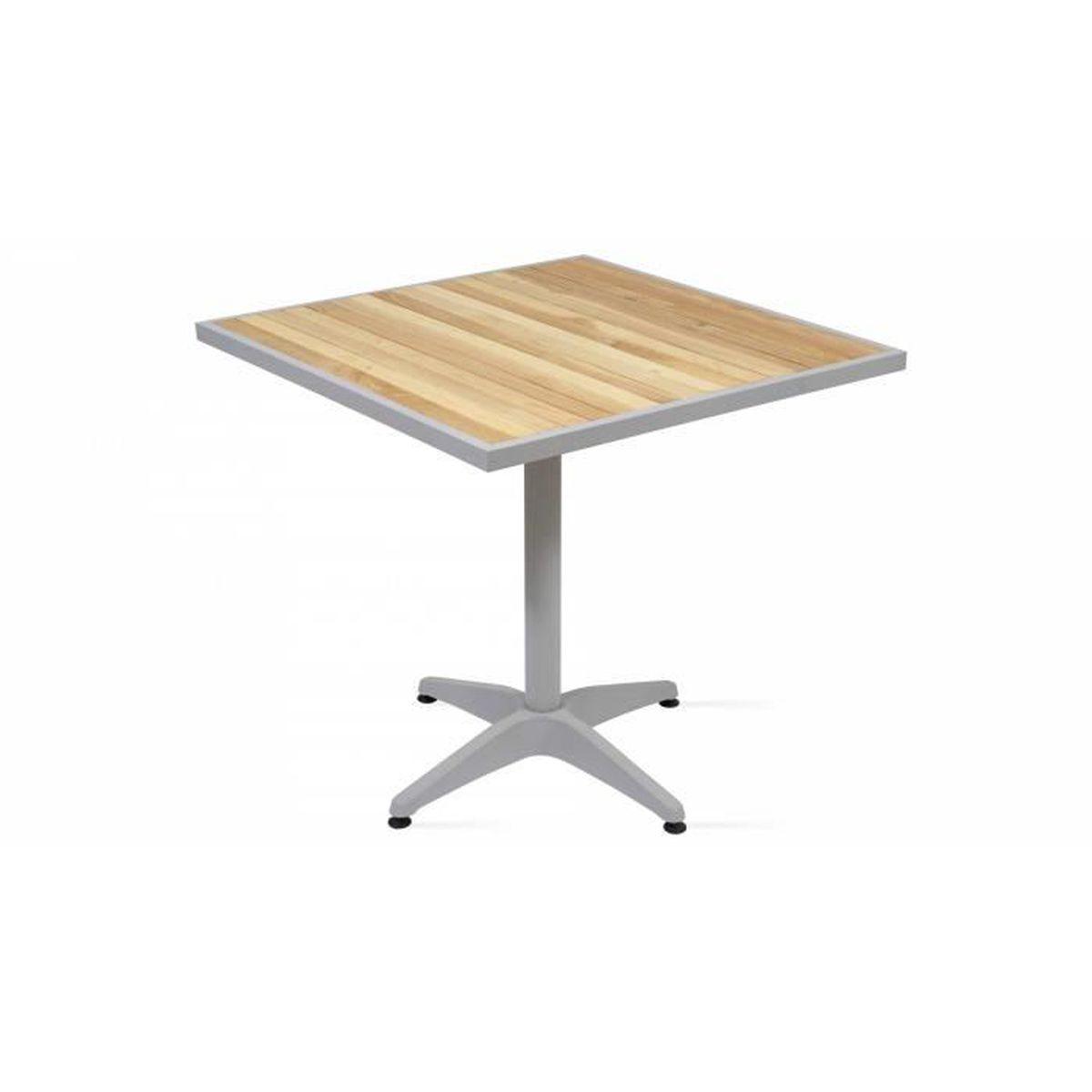 Table de jardin carrée bois et aluminium - Achat / Vente ...