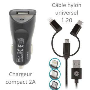 CHARGEUR TÉLÉPHONE Pour Huawei P30 Pro : Chargeur Auto 2A Câble Nylon