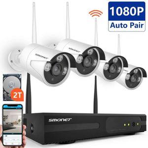 CAMÉRA DE SURVEILLANCE SMONET 8 CH 1080P NVR Kit Vidéo Surveillance Sans