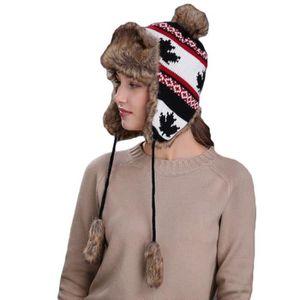 BONNET - CAGOULE Bonnet en Tricot Double Polaire Femme Motif Feuill