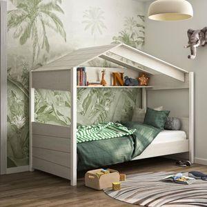 STRUCTURE DE LIT Lit cabane 90x200 cm décor chêne blanchi et blanc