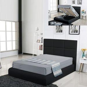 STRUCTURE DE LIT Lit coffre design Alves - Noir - 140x190