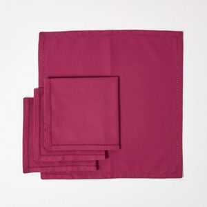 SERVIETTE DE TABLE Lot de 4 serviettes de table 100% coton  Prune