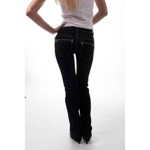 Jeans femme taille basse coupe droite - Achat / Vente pas cher