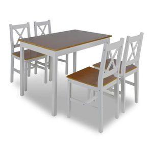 TABLE DE CUISINE  1 ensemble Table en bois + 4 chaises Couleur Marro