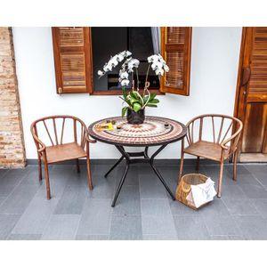 TABLE DE JARDIN  Table de jardin acier et mosaïque en céramique ron