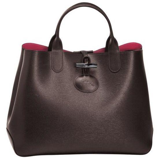 LONGCHAMP - sac femme porté main - ROSEAU REVERSIBLE EBENE/ROSE ...