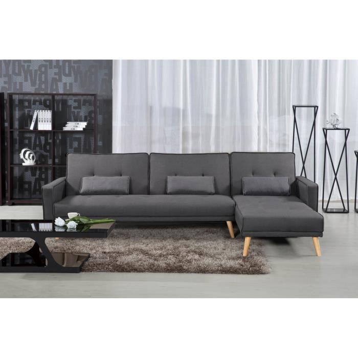Canapé d'angle convertible modulable en tissu gris CLEA