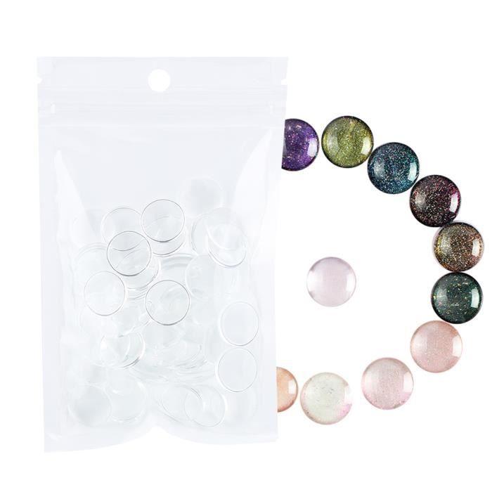 50pcs Outil de manucure de carte de couleur polonaise de gel d'affichage de vernis à ongles transparent(petit rond)-CHE