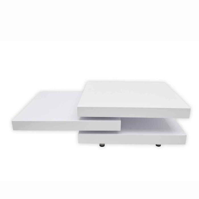 Magnifique Table basse blanc laque carree pivotante 3 plateaux