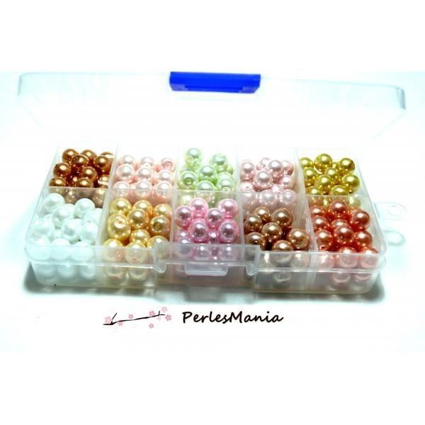 LES ESSENTIELS: 250 perles verre nacrées multicolores 8mm H11203B