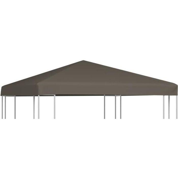 MBP® Toile supérieure de Tonnelle de Jardin Haut de gamme - Barnum gazebo 310 g-m² 3x3 m Taupe *543227
