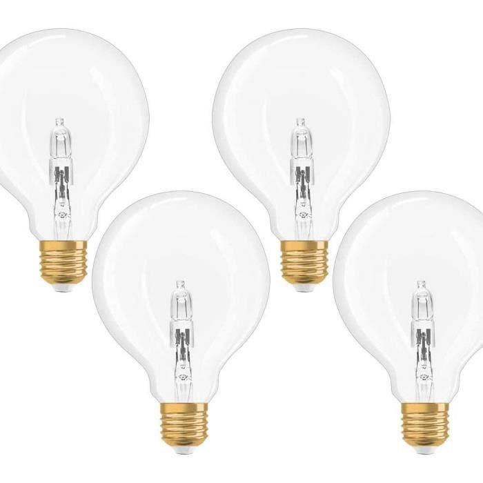 AMPOULE HALOGENE Osram Vintage Edition 1906 Lot de 4 ampoules halogènes Globe G95 20 W = 25 W E27 Transparent Blanc chaud Intens2696