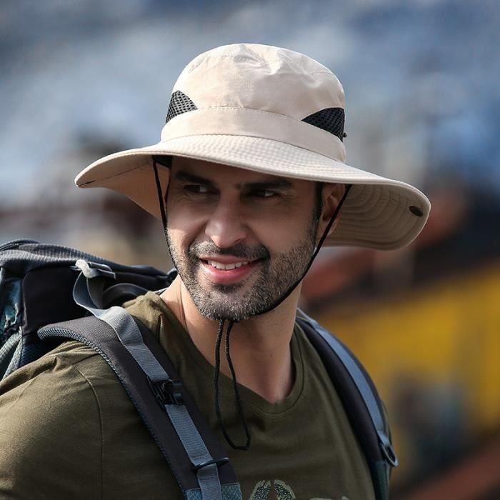 Kaki -Chapeau de pêcheur de soleil à Large bord pour hommes, casquette de Protection solaire multifonction d'été pour escalade et