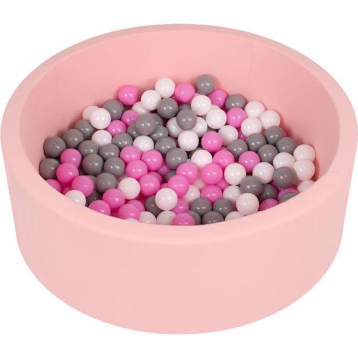 Selonis Piscine À Balles 90X30cm-200 Balles Ronde En Mousse Pour Bébé Enfant, Rose: Gris-Blanc-Rose