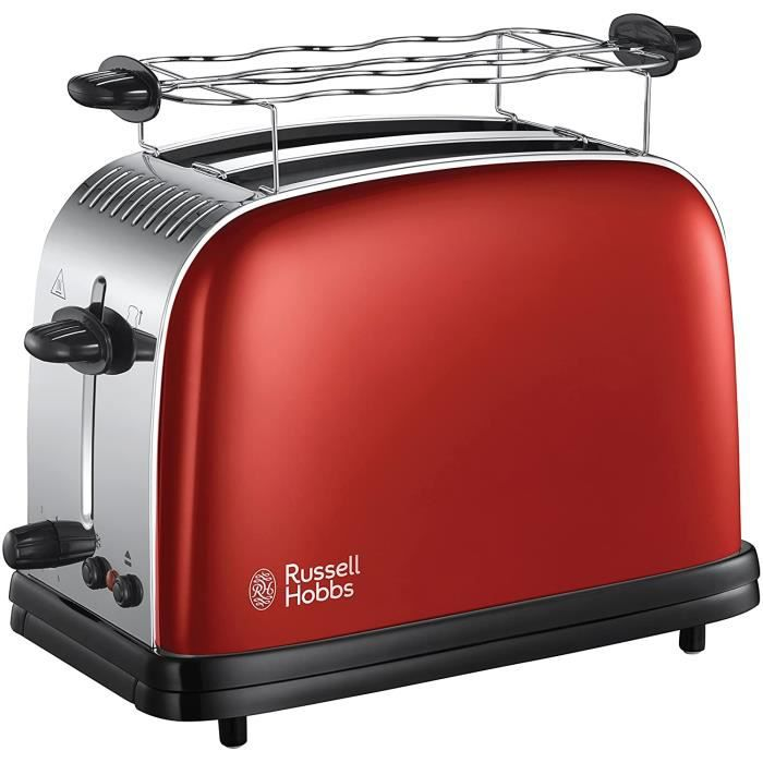 Russell Hobbs Toaster, Grille Pain Extra Large, Cuisson Rapide et Uniforme, Contrôle Brunissage, Chauffe Vionnoiserie - Rouge 23330