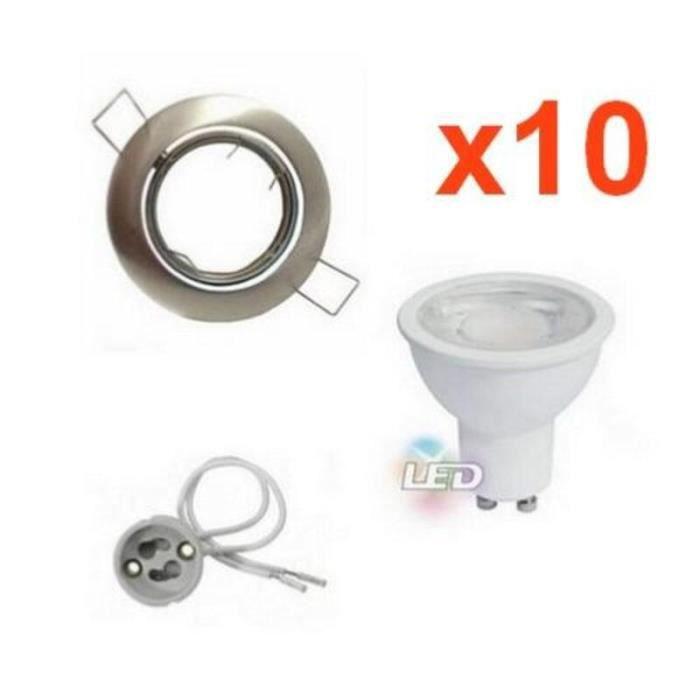 Kit Spot LED GU10 Encastrable Orientable 8W Rond Inox (Pack de 10) - Blanc Neutre 4200k - 5500k - SILUMEN