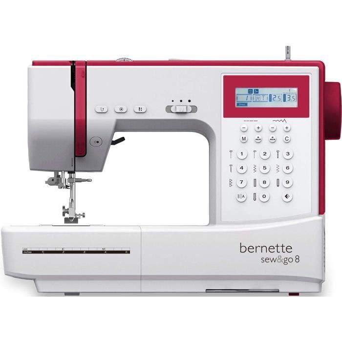 Bernette Sew&GO8 Machine à coudre ordinateur avec 197 programmes de couture, bras libre, écran multifonction, couture, patchwork, ma