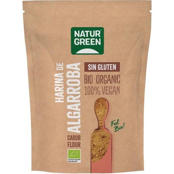Naturgreen+Farine de caroube bio sans gluten 500 g de poudre