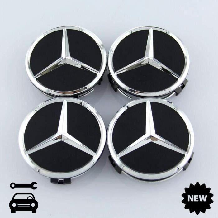 Lot de 4 Cache-moyeux AMG pour Mercedes-Benz Noir Mat Étoile Moyeu 75 mm