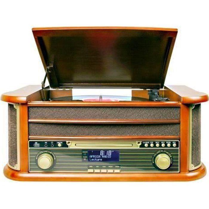 Platine Disque Vinyle Vintage BOIS avec Radio Bluetooth /FM/USB/RCA/AUX/Télécommande/Lecteur CD/Cassette Platine Vinyle pas cher