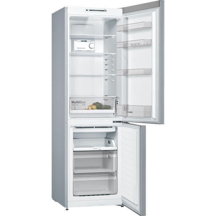 BOSCH KGN36NLEA - Réfrigérateur congélateur bas - 302L (215L + 87L) - Froid NoFrost multiairflow - A++ - L 60 x H186cm - Portes inox
