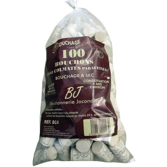 BOUCHONNERIE JOCONDI Bouchon cylindrique en liège colmaté x100 - 38x24 mm