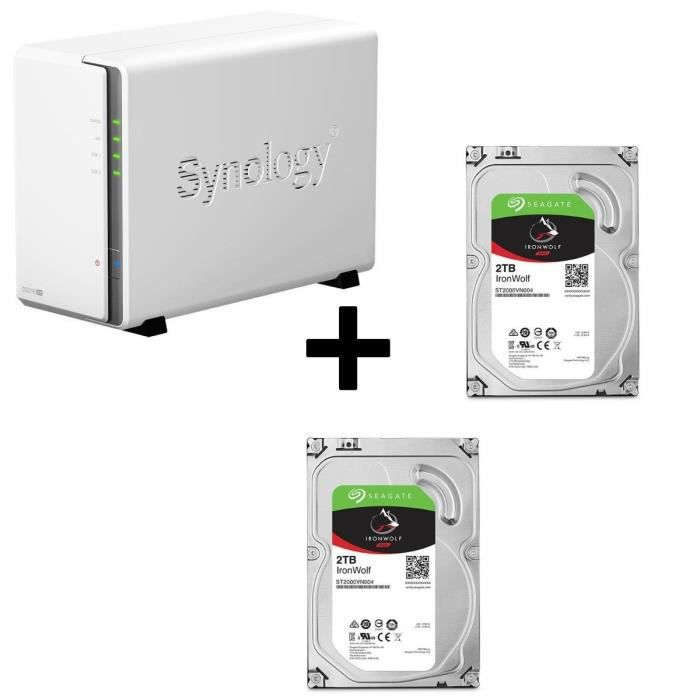 Pack Synology Serveur NAS Diskstation DS216se DS216se + 2 Disques Durs Seagate NAS HDD Iron Wolf 2To 3,5\