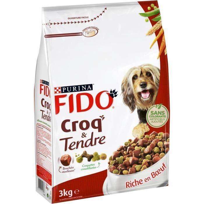 FIDO Croq'&Tendre - Bœuf, céréales et avec des vitamines - Pour chien adulte - 2 x 3 kg