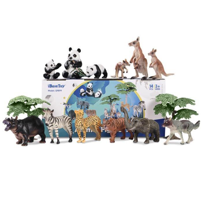 IbaseToy 14pcs Forêt pédagogique Animaux Modèle Fête des enfants pour figurine miniature - personnage miniature monde miniature
