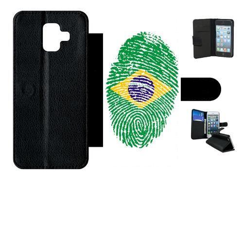 Etui a rabat - Simili-Cuir - Noir Samsung Galaxy A6 (2018) 60 EMPREINTE DIGITALE DRAPEAU BRESIL BRAZIL