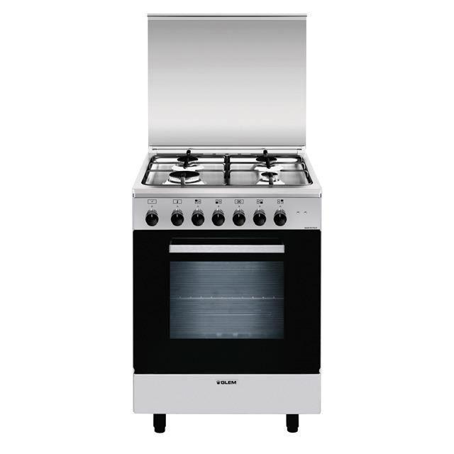Glem A664MI6, Cuisinière, Acier inoxydable, Rotatif, Devant, Cuisinière à gaz, Moyenne
