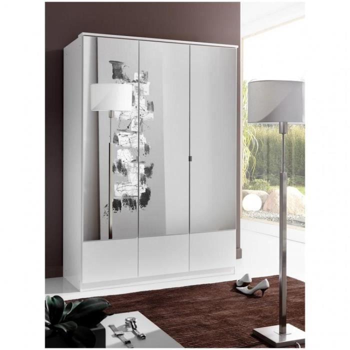 Armoire penderie DINGLE 3 portes miroirs largeur 135 blanche blanc Bois Inside75