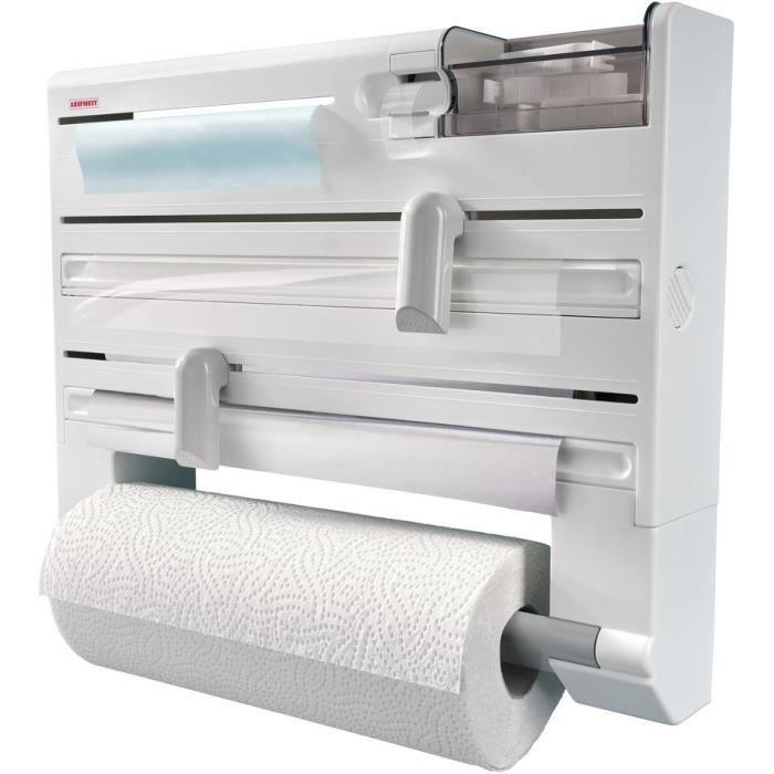 Distributeur essuie-tout papier aluminium film Parat Plus ComfortLine 25723 Leifheit-Dévidoir mural 6 rangements lames tranchantes
