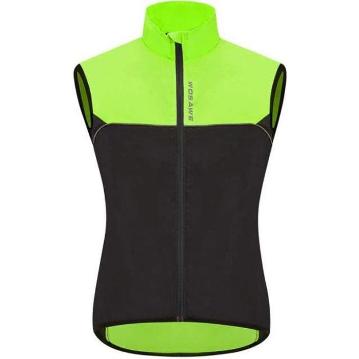 Veste sans Manches Vélo, Respirant VTT Haut Ultra-Léger Coupe-Vent Gilet de Cyclisme pour Homme Femme - Noir