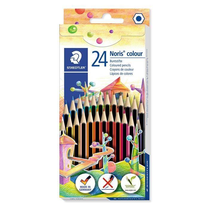 Noris® colour 185 - Etui carton double couche 24 crayons de couleur WOPEX® assortis