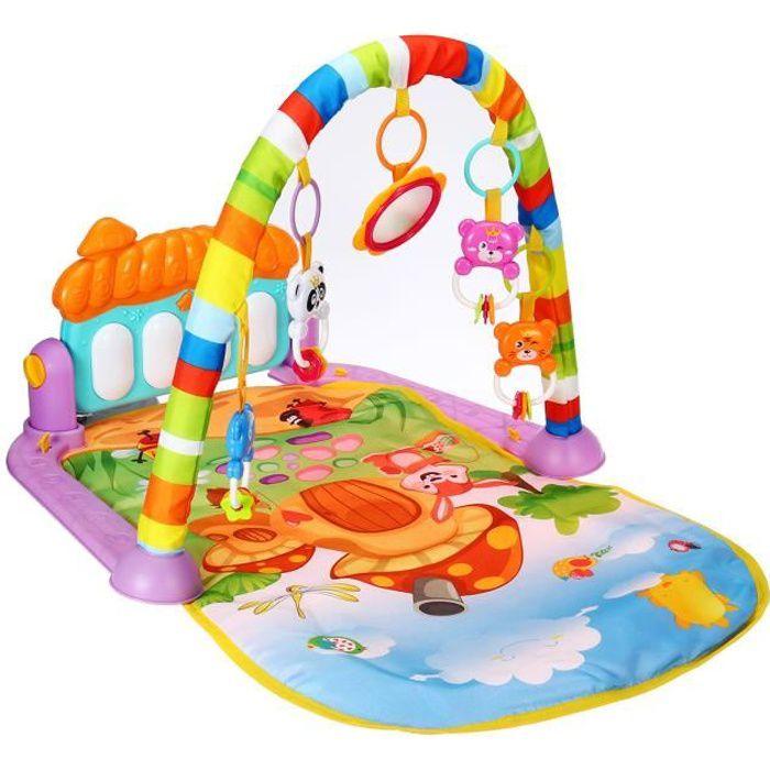 Tapis d'Eveil Musique avec Piano Pedal Tapis de Jeu Porte Jouet pour enfants 0-12 mois