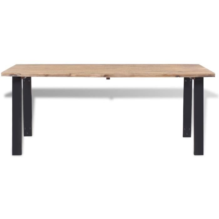 GES Table de salle à manger marron et noir Dessus de table en bois d'acacia massif brossé + pieds en métal laqué 170 x 90 x 75 cm