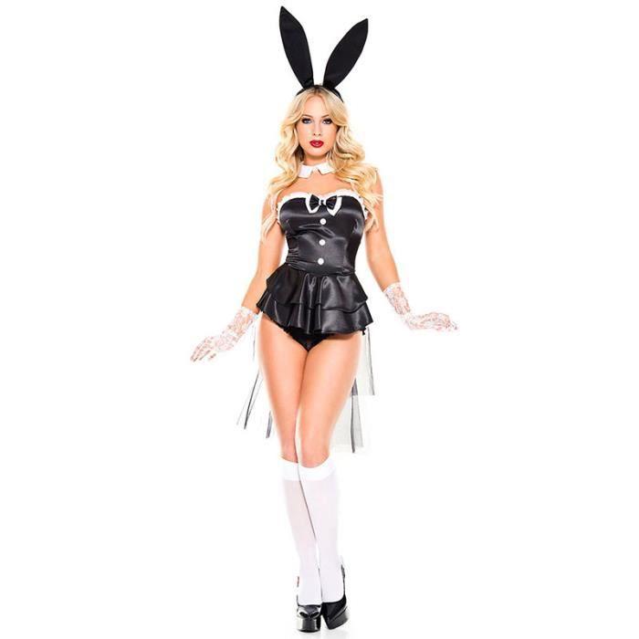 Wonder Beauty® Halloween Cosplay Deguisement Femme Lapin Costume Robe Court Sexy Noir avec Headband Collier Gants