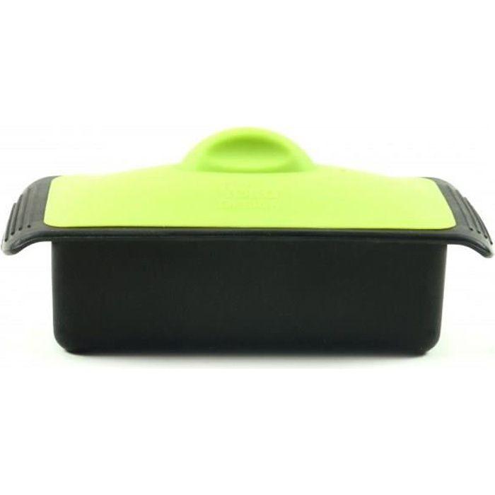YOKO DESIGN Plat pour terrine de 1 kg avec couvercle - 11 x 22,5 cm - Noir et vert