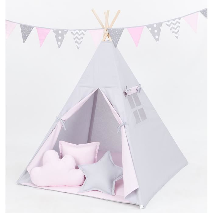 tipi enfant rose et gris complet pour chambre de gar on ou. Black Bedroom Furniture Sets. Home Design Ideas